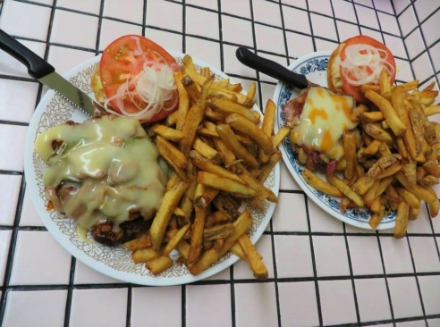 Cheese Burger and Fries at 50's Themed Dinner in Burford, Ontario