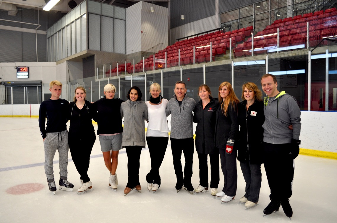 Elvis Stojko and Gladys Orozco with coaches and trainers at the Paris Skating Club