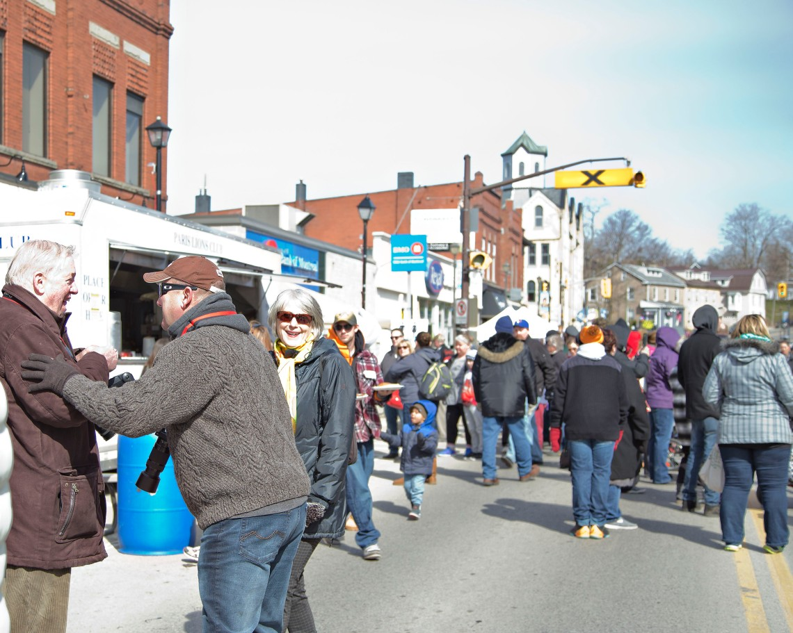 People in the crowd at the Paris Maple Syrup Festival