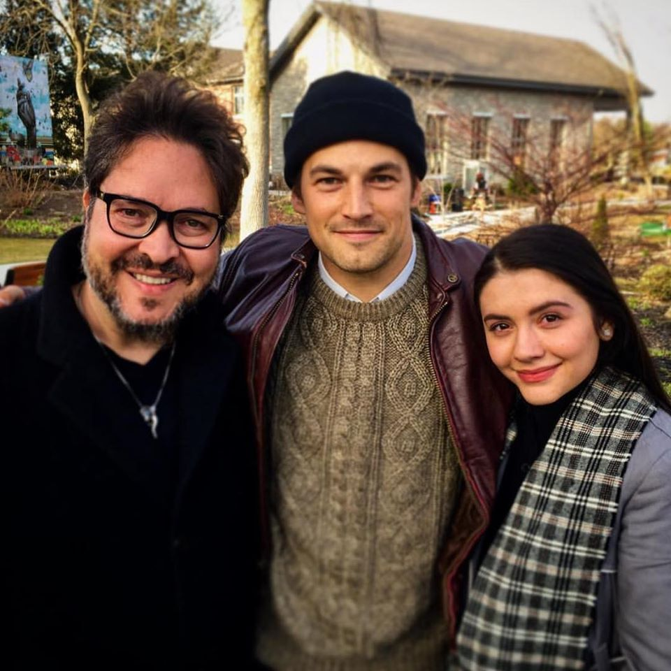 Director Sergio Navarretta, Giacomo Gianniotti and Ana Golja in Brant County.
