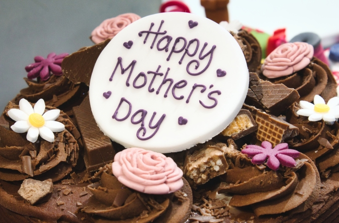 Happy Mother's Day Cake With Chocolate And Marzipan Icing