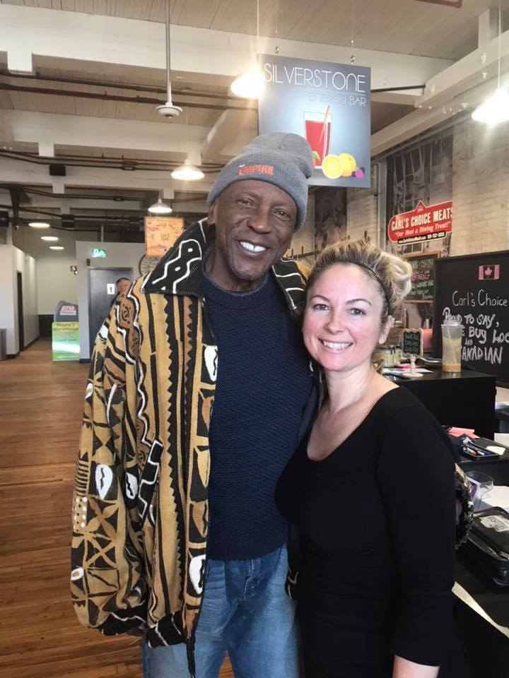Louis Gosset Jr. and Nelsy Dinsmore, owner of SilverStone Energy Bar in Wincey Mills, Paris Ontario